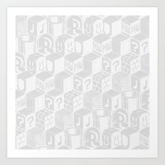 SUPER MARIO BLOCK-OUT! (White Edition) Art Print