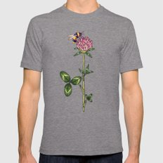 Red clover pattern Mens Fitted Tee Tri-Grey SMALL
