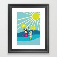 Robot Sisters Blue - A Family Affair Framed Art Print