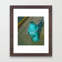 Turquoise Hydrant Framed Art Print