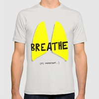 Breathe. A PSA for stressed creatives. Mens Fitted Tee Silver SMALL