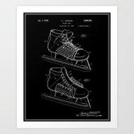 Hockey Skate Patent - Bl… Art Print