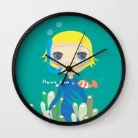 Diver girl Wall Clock
