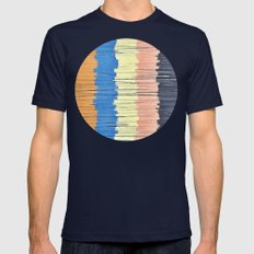 Textured Stripes Abstract Mens Fitted Tee Navy SMALL