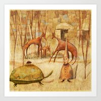 The Tortoise and the Beetle Art Print