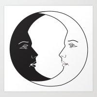ying yang luna Art Print
