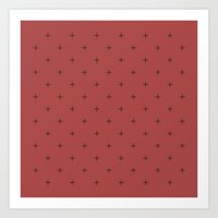 Crosses on Red Berry Art Print