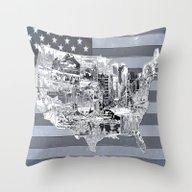Usa Map Black And White Throw Pillow