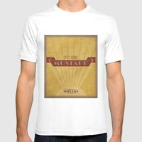 Spicy Brown Mustard Mens Fitted Tee White SMALL