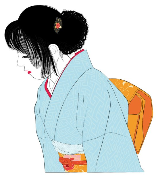 kimono girl Art Print
