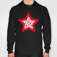 Red stars on white background illustration Hoody