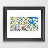Amsterdam Map design Framed Art Print