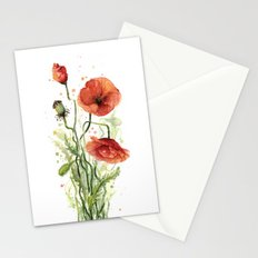 Red Poppies Watercolor Flower Floral Art Stationery Cards