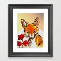Fox In Sunset Framed Art Print