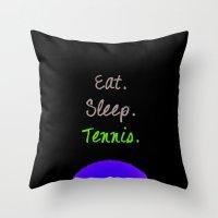 Eat. Sleep. Tennis.  (White with Pink) Throw Pillow