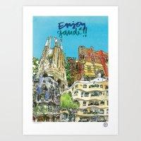 Enjoy Gaudí! Art Print