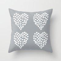 Hearts Heart X2 Grey Throw Pillow