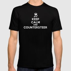 Keep Calm and Countersteer - White Text SMALL Black Mens Fitted Tee