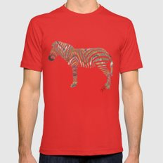 Chevron Zebra Mens Fitted Tee Red SMALL
