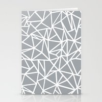 Abstract Outline Thick White on Grey Stationery Cards