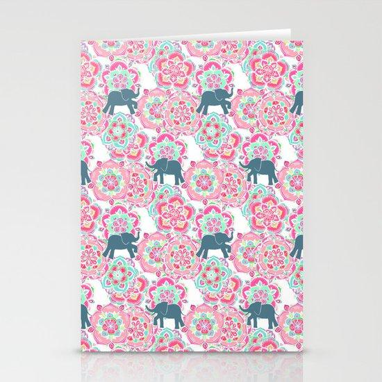 Tiny Elephants in Fields of Flowers Stationery Card
