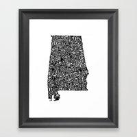 Typographic Alabama Framed Art Print