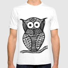 Owl SMALL White Mens Fitted Tee