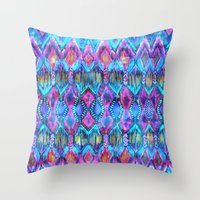 Ikat #32 Aqua Throw Pillow