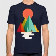 Little Geometric Tipi Mens Fitted Tee Navy SMALL