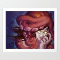 Octopus Hat Art Print
