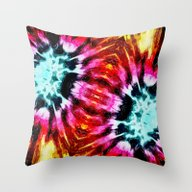 Colorful Poinsettia Abst… Throw Pillow