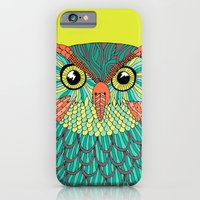 iPhone & iPod Case featuring owl - Lime green by bluebutton studio