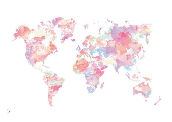 Watercolour World Map (pink) Canvas Print