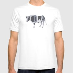 Cows Typography SMALL White Mens Fitted Tee