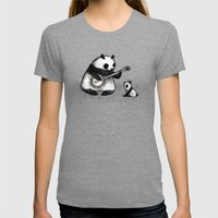 Banjo Panda Womens Fitted Tee Tri-Grey SMALL