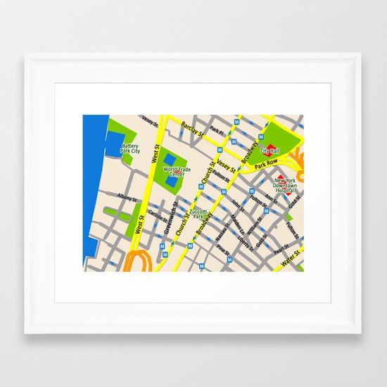 NEW YORK map design Framed Art Print
