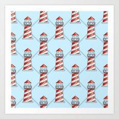 Lighthouse on blue background pattern Art Print