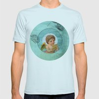 Angel playing music in space Mens Fitted Tee Light Blue SMALL