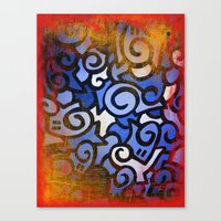 Canvas Print featuring Red and Blue by Kommendino