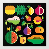 Fruit Medley Black Canvas Print