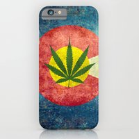 iPhone Cases featuring Retro Colorado State flag with the leaf - Marijuana leaf that is! by Bruce Stanfield