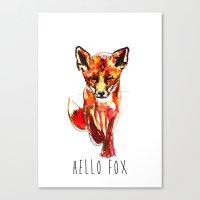 Cute Little Red Fox Wate… Canvas Print