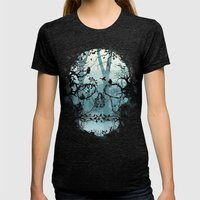 Dark Forest Skull Womens Fitted Tee Tri-Black SMALL