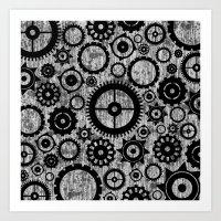 Grunge Cogs. Art Print