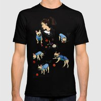 French bulldog playing with a basketball Mens Fitted Tee Black SMALL