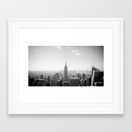 Manhattan - Empire State Building Panorama   B/W Framed Art Print