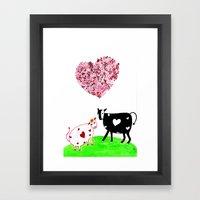 Romeo Bull N Juliet Cow Framed Art Print
