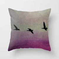 Goose Flight - JUSTART © Throw Pillow