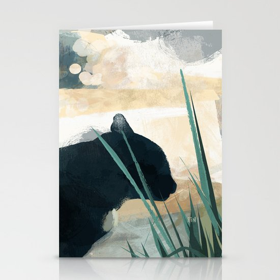 Skelly Cat in the Grass Stationery Card
