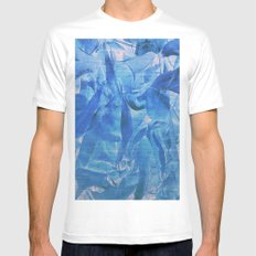 Abstract Blue Leaves Mens Fitted Tee White SMALL